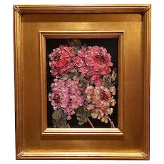 """Floral Still Life Flowers Roses"", Original Oil Painting Fine Art by artist Sarah Kadlic, 8x10"" Gilt Wood Frame"