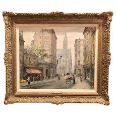Stunning Paul Gagni Original Oil Paris Street Painting Gilt Leaf French Gesso Frame