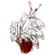 Retro Vintage 1950s Estate 1.18ct VS Diamond Garnet Necklace Pendant 14k Gold