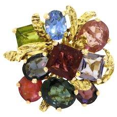 Vintage 14k Gold 12 Carat Topaz, Peridot, Tourmaline, Garnet, Quartz, Amethyst  Gemstone Cluster Ring