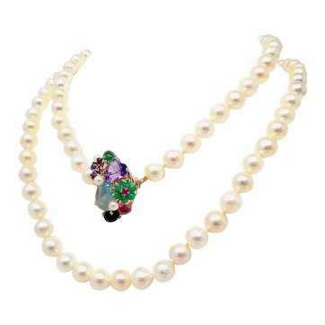 """Stunning Vintage 14k Gold 9-9.5mm Pearl Necklace with Gemstone Clasp 37"""""""