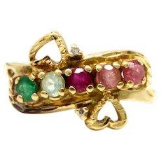 Vintage Estate 14k Gold Heart Pink Green Tourmaline Gemstone Diamond Band Ring