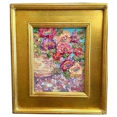"""Abstract Floral Still Life II"", Original Oil Painting by artist Sarah Kadlic, 8x10"" Gilt Leaf Wood Frame"