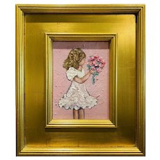 """""""Abstract Young Girl Child with Flowers"""", Original Oil Painting by artist Sarah Kadlic, Gilt Leaf Frame 12""""x14"""""""