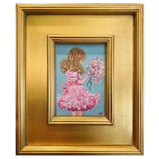 """""""Impressionist Young Girl Child with Flowers"""", Original Oil Painting by artist Sarah Kadlic, 12"""""""