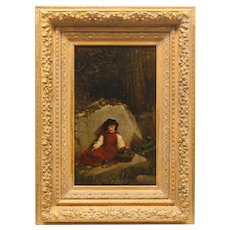 19th Century Antique Original Oil Painting of Young Girl Child Figure - Ornate Gilt Wood Period Heavy Wood Frame
