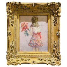 """Young Girl with Flowers"", Original Oil Figure Painting by artist Sarah Kadlic, 13""x15"" Gilt Leaf Ornate Wood Frame"