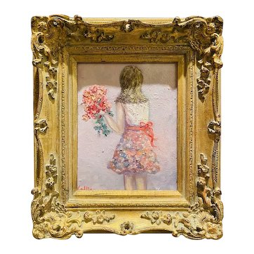 """""""Young Girl with Flowers"""", Original Oil Figure Painting by artist Sarah Kadlic, 13""""x15"""" Gilt Leaf Ornate Wood Frame"""