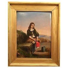 "Gorgeous Antique 19th Century Original Oil Painting ""Gleaner"" - SCOTTISH SCHOOL Oil on panel"