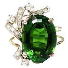 Vintage 1950s Estate 14k Gold 7.66 ctw Green Tourmaline VS Diamond Cocktail Ring