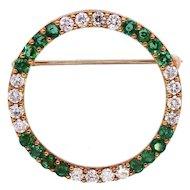 RARE Vintage 1950s Herbert Rosenthal 18k Gold 1.60 ct Emerald VS Diamond Circle Brooch Pin Pendant for Necklace