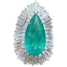 Vintage Ring-dant HUGE Platinum 14k Gold 18ct Emerald VS Diamond Baguette Ballerina Ring