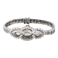 Stunning Vintage 1940s 50s Covered Hamilton Watch Art Deco 7.65ctw Diamond Bracelet