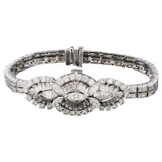 Stunning Vintage 1940s 50s Covered Hamilton Watch Art Deco 7.65ctw Diamond Bracelet