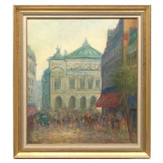 "Midcentury Retro Vintage Paris Street Oil Painting Listed Artist Hans Nowak Impressionism 37"""