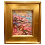 """Abstract Chunky Geometric Impasto"", Original Oil Painting by artist Sarah Kadlic, 8x10"" Gilt Leaf Frame"