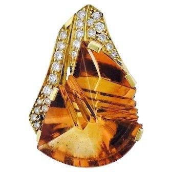 Stunning 18k Gold H. STERN Designer 0.60 G/H VS Diamond Citrine Necklace Pendant Enhancer 34mm