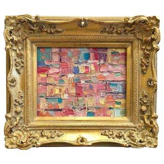 """Abstract Chunky Geometric Impasto"", Original Oil Painting by artist Sarah Kadlic, 8x10"" Gilt Leaf Frame"
