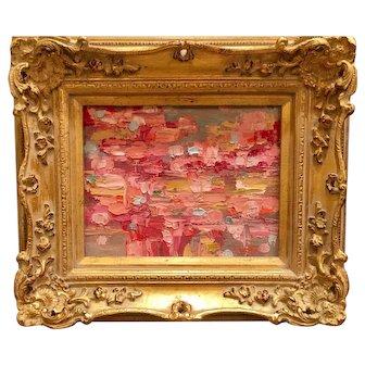 """Abstract Chunky Pinks & Gold Impasto"", Original Oil Painting by artist Sarah Kadlic, 8x10"" Gilt Leaf Frame"