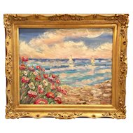 """Abstract Impressionism Impasto Seascape"", Original Oil Painting by artist Sarah Kadlic, 24x20"" Gilt Leaf French Frame"