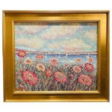 """Impressionist Floral Seascape "", Original Oil Painting by artist Sarah Kadlic, 30"" x 26"" Gilt Leaf Wood Frame"