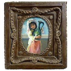 Italian Girl Child w/ Vase - Signed Original Oil Painting Gilt Wood Frame Italy