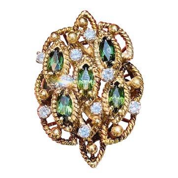 Vintage 1960s 1970s Jack Gutschneider 14k Gold Green Tourmaline Diamond Cocktail Ring