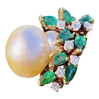 Vintage Estate JGJLRY 18k Gold Diamond Emerald Baroque Cocktail Cluster Ring