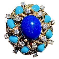 Estate Vintage Heavy Designer JGJLRY 14k Lapis Lazuli Turquoise Cabachon Diamond Halo Ballerina Cocktail Ring