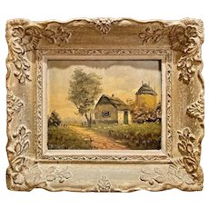 Beautiful Vintage 1950s Retro Midcentury Impressionist English Romantic Cottage Landscape Oil Painting