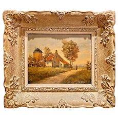 Beautiful Vintage 1950s Retro Midcentury Impressionist English Romantic Cottage Landscape Oil Painting #2