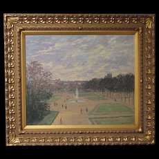 "Stunning French Impressionist Original Oil of Paris France ""Les Tuileries"" by Listed Artist John Modesitt, (American b. 1955)"