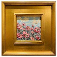 """Impressionist Impasto Wildflowers"", Original Oil Painting by artist Sarah Kadlic, 12"" Gilt Framed"