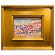 """Abstract Impasto Landscape"", Original Oil Painting by artist Sarah Kadlic, 12"" Gilt Leaf Wood Frame"