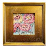 """""""Impressionist Impasto Flowers"""", Original Oil Painting by artist Sarah Kadlic, 12"""" Gilt Leaf Wood Frame"""