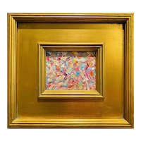 """Abstract Impasto Kaleidoscope"", Original Oil Painting by artist Sarah Kadlic, Gilt Leaf Wood Frame 12"""