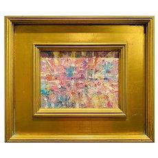 """Abstract Impasto Palette"", Original Oil Painting by artist Sarah Kadlic, 14""x12"" Gilt Leaf Wood Frame"