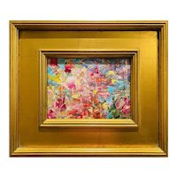 """Abstract Impasto Palette"", Original Oil Painting by artist Sarah Kadlic, Gilt Leaf Wood Frame 12x14""."