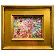"""Abstract Impasto Palette"", Original Oil Painting by artist Sarah Kadlic, Gilt Leaf Wood Frame 12x14""."