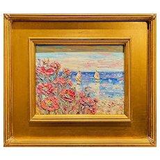 """Abstract Impressionist Wildflowers Floral Seascape"", Original Oil Painting by artist Sarah Kadlic, 13x15"" Gilt Leaf Wood Frame"