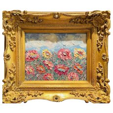 """Abstract Wildflowers Landscape "", Original Oil Painting by artist Sarah Kadlic, 15"" Gilt Leaf Ornate Wood Frame"
