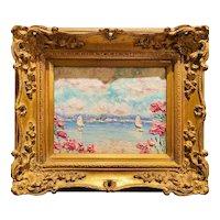"""Abstract Floral Seascape "", Original Oil Painting by artist Sarah Kadlic, 15"" Gilt Ornate Wood frame"