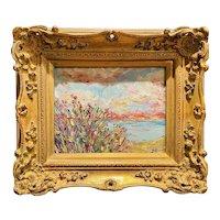 """""""Abstract Wildflowers Seascape Impasto"""", Original Oil Painting by artist Sarah Kadlic."""