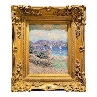 """Impressionist Seaside Landscape/Seascape"", Original Oil Painting by artist Sarah Kadlic, 15"" Gilt Leaf Ornate Wood Frame"