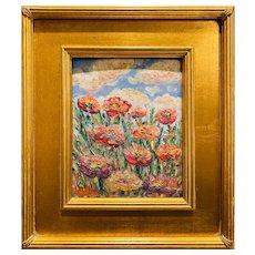 """Abstract Wildflowers against the Sky"", Original Oil Painting by artist Sarah Kadlic, 13""x15"" Gilt Leaf Wood Plein Air Frame"