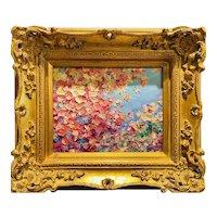 """""""Abstract Impasto Leaves"""", Original Oil Painting by artist Sarah Kadlic, Gilt Leaf Ornate Wood 14""""x16"""" Frame"""