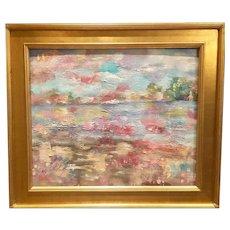 """Abstract Landscape Color Melt"", Original Oil Painting by artist Sarah Kadlic, 24""x20"" with Gilt Leaf Wood Frame"