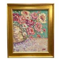 """Abstract Impressionist Floral Still Life Impasto"", Original Oil Painting by artist Sarah Kadlic, 24"" x 20"" Gilt Leaf Framed"