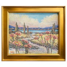 """Impressionist French Rivera Floral Seascape "", Original Oil Painting by artist Sarah Kadlic."