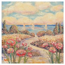 """Impressionist Floral Seascape"", Original Oil Painting by artist Sarah Kadlic, 24x24"" Gallery Stretched Canvas"
